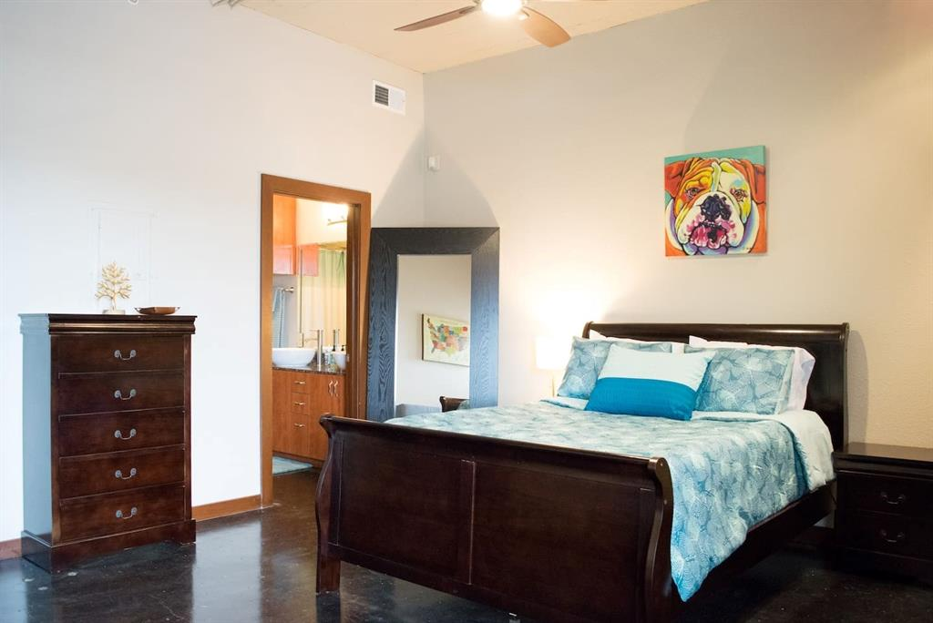 The perfect Airbnb / Short Term Rental Inv. Property with rents at $29K+/YR. Possibility to transfer ~$6k in future rents. Live/Work/Play EADO. Steps to EADO's best scenes. Fridge & most furnishings (~$10k worth) convey incl. smart home Schlage keyless entry. RARE 2 assigned gated garage parking spaces and large storage closet included! Top floor unit at historic Herrin Lofts, located in highly desired EADO! 1bed/1.5bath unit has open floor plan, stained cement floors and open cement ceilings. Beautiful finishes in kitchen and baths. Cozy private balcony with views to the east and overlooking common courtyard below. Large bedroom and ensuite bath with dual sinks and walk-in closet. Near new MetroRail line. There is potential to package w/ a 2nd Airbnb Property nearby, a higher priced townhome. *W/D conveys but dryer DOES NOT WORK.*