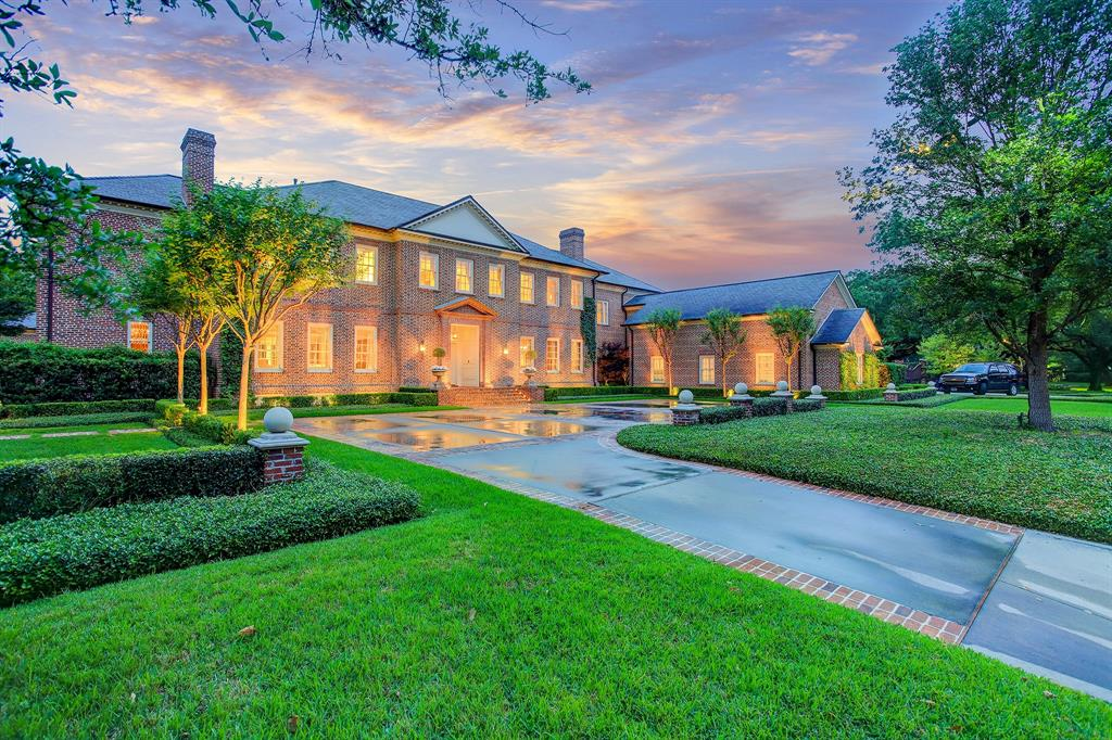 A Tanglewood Treasure. This timeless residence blends classic architecture with exemplary craftsmanship while showcasing a prominent placement overlooking the 13th fairway of the Houston Country Club. Custom designed by William Furbish, AIA, and meticulously crafted by Burke Windham with refined interiors by Robert Wakefield offering stately and impeccably-scaled living spaces enhanced by serene views of the spectacular setting. Grand Reception Hall. Elegant Formals. Wine Parlor. Gourmet Kitchen. Master Suite up with adjoining study, separate dressing rooms, luxurious bath, and access to expansive covered balcony overlooking the rear grounds with central swimming pool/spa and entertainment pavilion surrounded by a manicured lawn. 3rd Floor Flex Room. Separate stairway to adjoining Guest Quarters with kitchenette. Elevator. Home Generator. Ample parking with circular motor court and gated driveway leading to 3 car attached Garage.