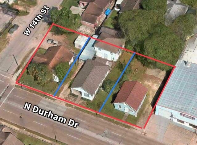 Highly sought after lot in the Heights/ Greater Heights area can be used as residential or commercial. This property is being sold as is and lot value only. This lot is for sell with two adjoining lots (1424 W 14th St. and 1340 N Durham Dr.) The pier and beam structure on the property is to be retained by seller and will be moved off the property after closing. Together, these three lots make a great location for business, builders, and real estate investors!