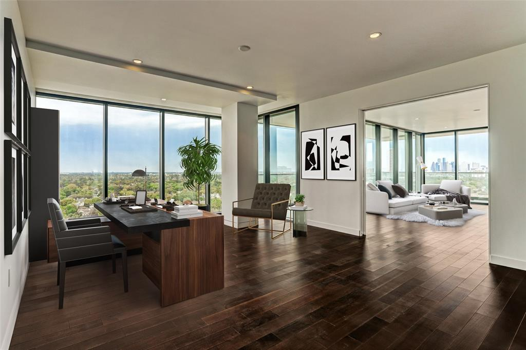 "Only one remaining of this size. This stunning 16th floor residence offers 6,000 sf of sophisticated modern design. The master includes a luxurious master bathroom and large walk-in closet. The floor to ceiling windows allow for an abundance of natural light and extraordinary views of downtown skyline and River Oaks. Designed by internationally acclaimed Lauren Rottet and nestled on nearly three acres of grounds, is reminiscent of a 5 star resort. Centrally located with easy access to Galleria, downtown and medical center. PaperCity magazine has stated, ""The River Oaks is the most anticipated new high-rise of the decade, possibly of the last 30 years in River Oaks."" Gourmet kitchen, Poggenpohl cabinetry, Gagganeau appliances. Full service building with 24 hour concierge and valet parking. Amenities include two pools, guest suites, pet-grooming spa,dog park, massage room, yoga/Pilates studio, fitness center. MODEL OPEN DAILY APPOINTMENTS SUGGESTED. *Total SF is 6014."