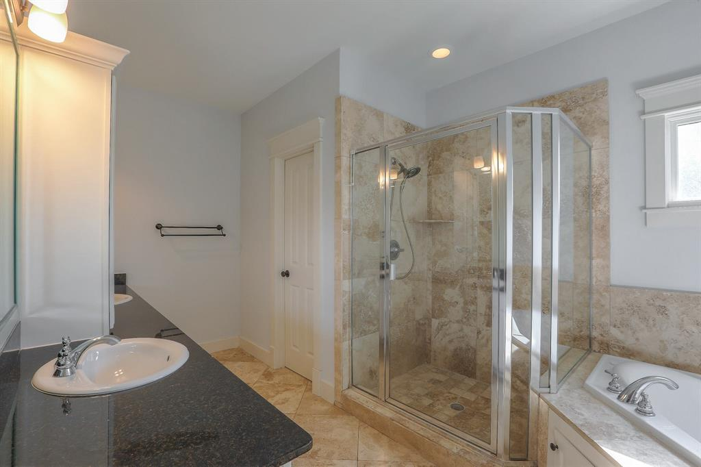 Master Bath features double sinks, whirlpool tub and separate shower.