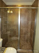 Glass Enclosed Walk-In Shower in Master Bath