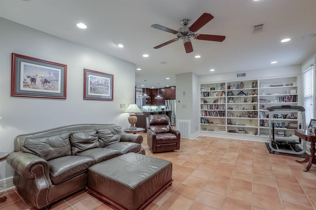 The family room also features lots of natural light and built-ins.