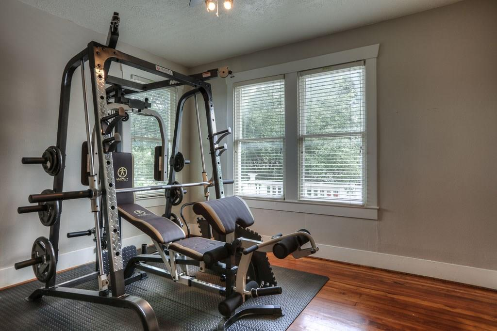 Bedroom # 3 is currently being used as a workout room.