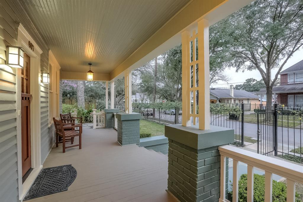 Enjoy your morning coffee on the classic Heights front porch.