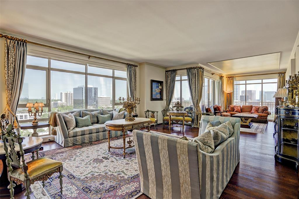 Beautiful 2/2.5 residence boasts 2,766 sq. ft. S/E views of Downtown & the Galleria. Hardwoods, crown moldings, custom decorative ceiling detail. Island kitchen w/extensive storage, walk-in utility rm. w/full size washer & dryer. Slab onyx serving bar. Designer draperies and solar shades. Private balcony. Ensuite guest bedroom. Master suite with large custom walk-in closet system with island, master bath w/soaking tub, oversized shower & double sinks. Full service staff and amenities include a gated entry, doorman, concierge, valet, porter, party rooms, fitness center, pool and more.