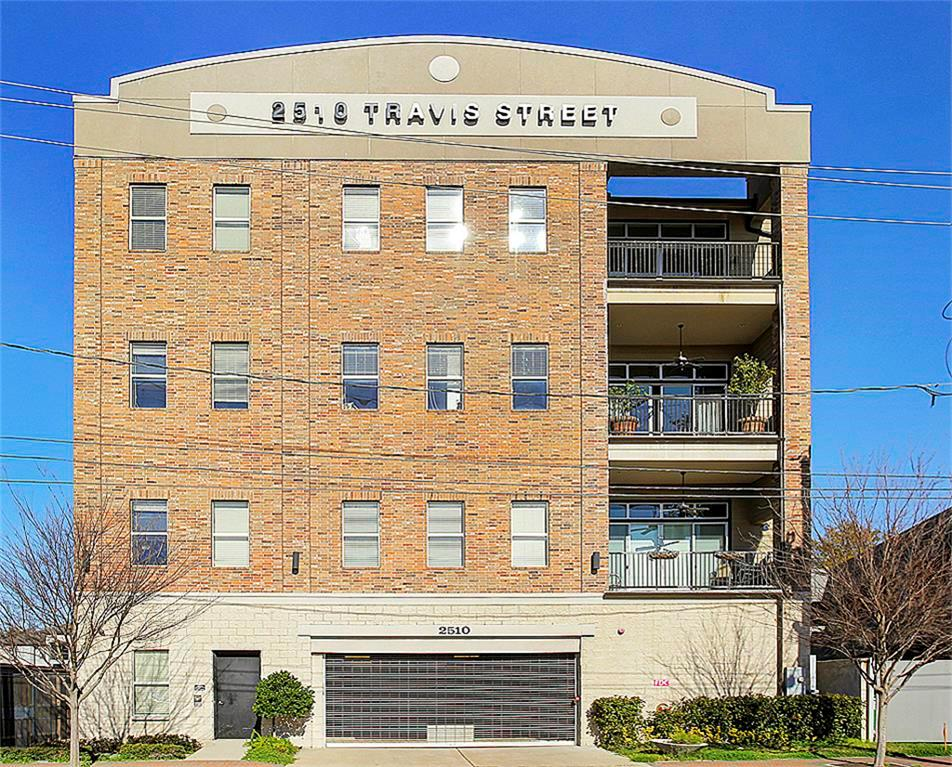 Style and convenience describe Travis Street Lofts! This recently constructed building offers an amazing location, and controlled access. Unit 205 offers a spacious master with a well appointed bath with guest bath connection. The open kitchen, dining and living are well suited for entertaining and everyday living. Hardwoods throughout and granite in the kitchen and baths. Stainless steel appliances in the kitchen including gas range. Refrigerator is included.  All per Seller