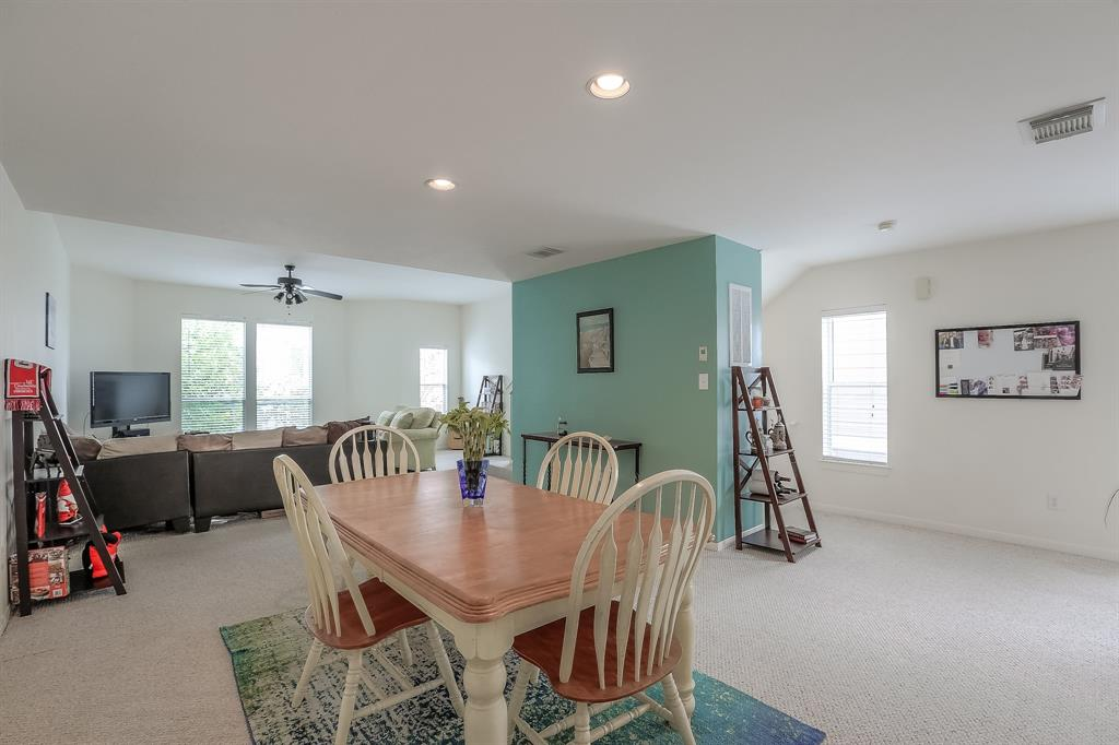 The dining space can easily fit a six or eight person dining table.