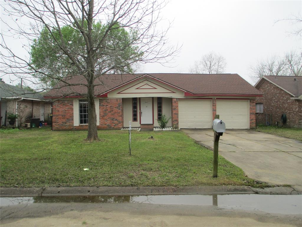 DID NOT FLOOD!!!!!!  This beautiful one story three bedroom two full bath brick home. Property has a survey.  It has two car attached garage. Back yard is fully fenced has kitchen has granite counter tops. Roof is two years old, new pluming in attic and new duct work AC unit outside new. Comes with refrigerator and dishwasher. There are washer and dryer hookups, patio in front and back.