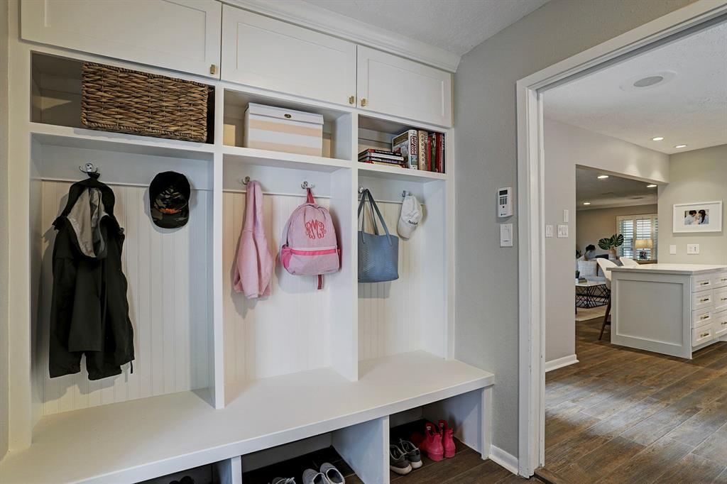 Built in mudroom cabinets in laundry room. Great storage!