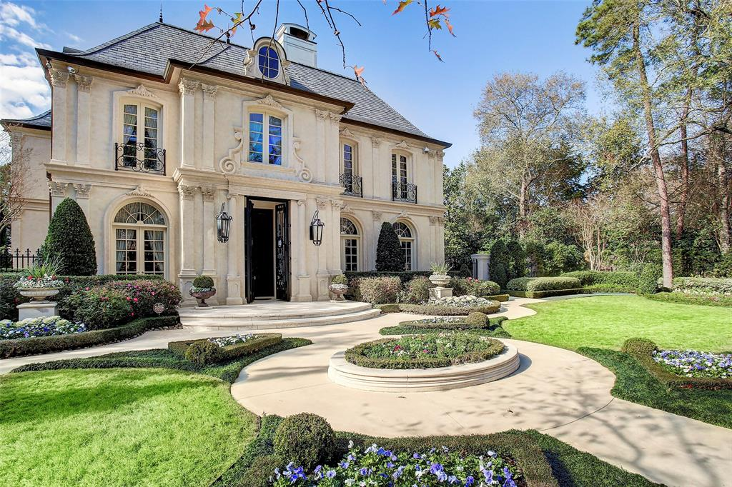 Step inside this magnificent French Estate sitting on one acre in River Oaks' Tall Timbers. Whether entertaining hundreds in the lavishly appointed interior or experiencing the quiet serenity of the French style gardens and courtyard fountain, this residence embodies quality, luxury and attention to detail. With five luxurious bedrooms, quarters, nine full and 2 partial baths, no element has been overlooked.