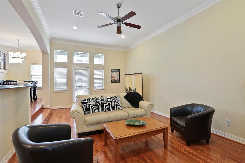 The high ceilings and natural light that floods this space and helps make this space both relaxing and luxurious. The crown molding throughout adds to that luxurious, upscale feel.