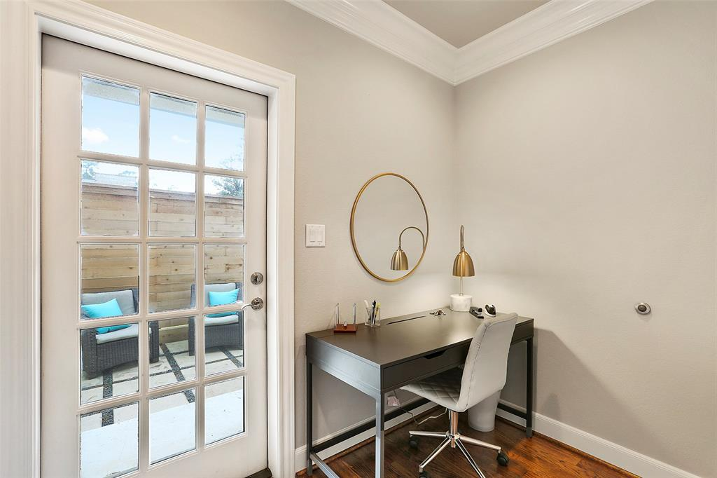 Study nook offers great flexibility and storage with easy access to the patio.