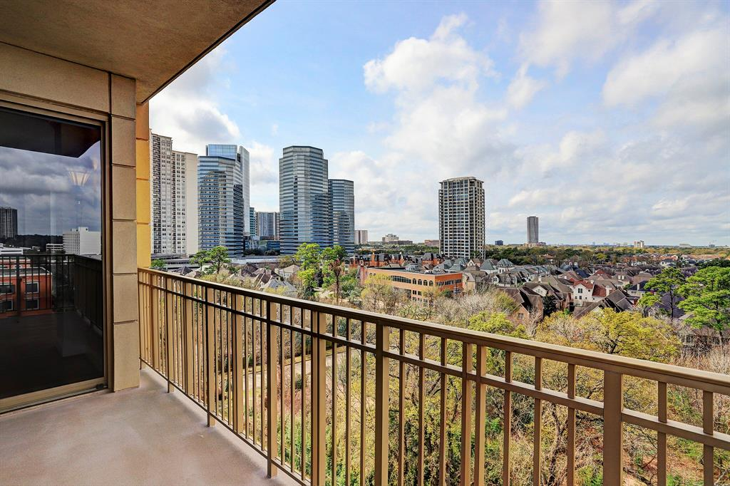 Welcome to one of Houston's premiere high rise buildings where you'll experience exceptional quality & outstanding amenities & services.  This lovely 8th floor unit rises above the bustling Uptown Park/Galleria area, where stylish boutiques & world class restaurants are nearby. A spacious, open floor plan offers plenty of options for furniture placement & the large Kitchen with central island, abundance of cabinetry, granite counters & stainless appliances is sure to please the resident chef.  The large Master Suite features a custom-designed walk-in closet, luxurious bath with dual sinks, garden tub & separate marble-tiled shower.  A charming corner balcony is accessible from both the Formal Living area & Master BR & provides the opportunity to further enjoy the views, container gardening & outdoor furniture.  The Montebello delivers privacy, security, & convenience, plus a friendly, attentive staff, all of which assures its residents an enviable lifestyle.