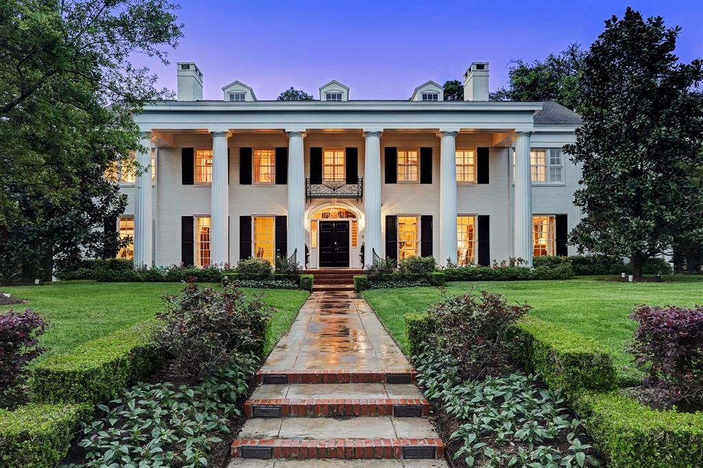 A rare Houston treasure, originally designed by renowned architect, Hiram Salisbury set on a half acre lot in the heart of River Oaks. Elegant of supreme quality with improvements by current owners. Welcoming Entry with gracious staircase, opening to grand Formal Living Room & Dining Room for exceptional entertaining possibilities. Handsome Study with wood paneling, built-ins and back yard views. Gourmet Kitchen with abundant storage, multiple work spaces and quality appliances. Spacious Family Room with pool & back yard view, as well as a Game Room with Kitchenette and full bath. Covered porch with grill and fireplace. Upstairs grand Master Suite, plus five additional spacious bedrooms centered around a cozy den/media room. A private upstairs office space, as well as Quarters with kitchenette and private entry, and a work-out/flex space. Outdoors, an elegant pool with slate surround and fenced yard. 3 car garage with plenty of parking/game space. Truly exceptional!