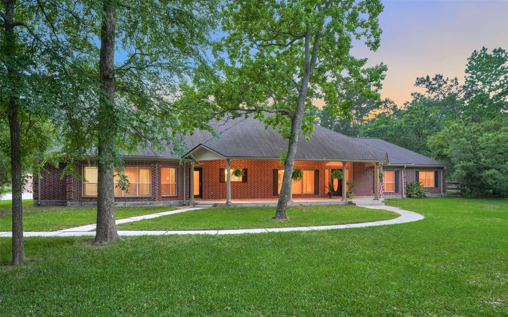 Have you been searching for a needle in a haystack? One story, acreage, pool, stables, 4 car garage, room to breathe but close to shopping and entertainment? YOU FOUND IT! This wonderful property is tucked away down a long winding driveway in the prestigious Lake Windcrest neighborhood on two sprawling acres! Designed with an open floorplan for entertaining, but also well thought out split plan for privacy. Master Retreat on one side and 3 secondary beds/baths on the other wing of this 3655 SF home. You will love watching the wildlife from your front porch! Walls of windows provide sweeping views to the pool & private acreage. Large & open kitchen, study, over-sized laundry room, stables, GENERATOR, great closet & storage spaces, wood floors, tray ceilings, custom built-ins, also the land is fenced and ready for your horses... this home is just waiting for your personal touches. Lake Windcrest is such a beautiful community w/ something for everyone... golf, lakes, and nature trails!