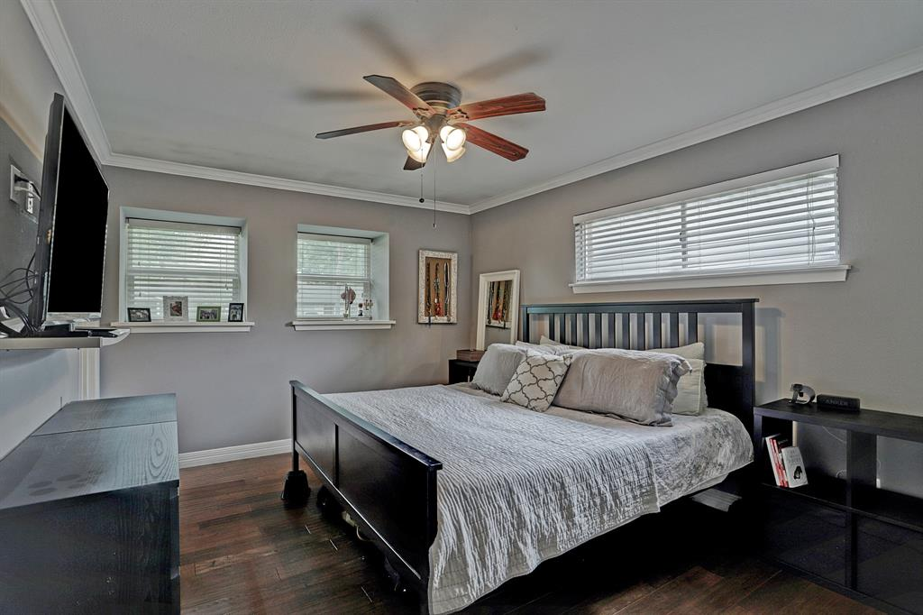 Master bedroom fits a king sized bed nicely. His and her closets feature built in shelving.