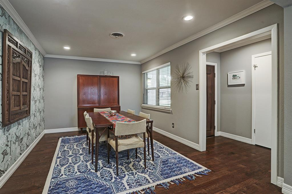 Formal Dining area is to the right of the front door when you walk in. Includes recessed lighting.