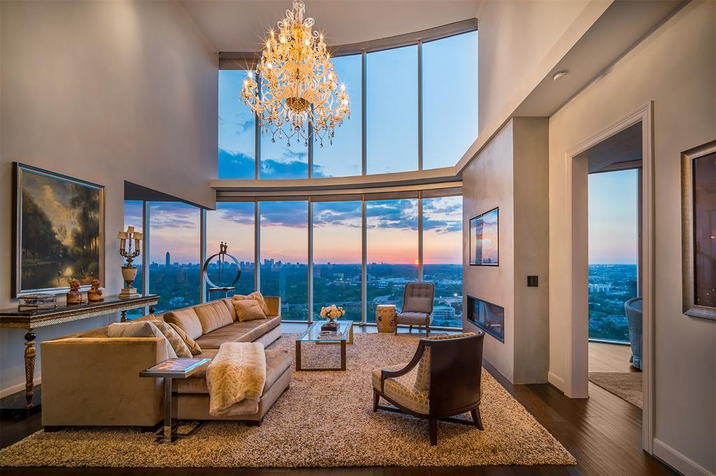 Under the majestic Crown of the Royalton, this glorious Penthouse is ready to entertain! Embraced with extended 180 degree panoramic view of the city from 2 Sky Gardens north and south terraces. The transparent interior living glows under hand-blown Chandeliers made in Venetian island of Murano. Kitchen with Silestone counter top, Italia Mosaic backsplash & butler station. Bar/wine area with Brentwood cabinetry & Lalique knobs. Guest bathroom on 1st level with Swarovski crystal, Italian marble & brushed gold faucets. Custom staircase inspired by Broadmoor Colorado Spring. Master bedroom with retreat area/studio. Master bathroom with double vanities & luxurious double shower. Guest bedroom on 2nd level with brid's-eye view of west and north. Guest bathroom with exquisite Lalique faucets. The building offers 24 hour concierge, valet, Ballroom, Crown room, catering kitchen, theatre room, conference room, gym, resort style pool & 2 guest suites. A Spectacular Sky Mansion with Gardens!