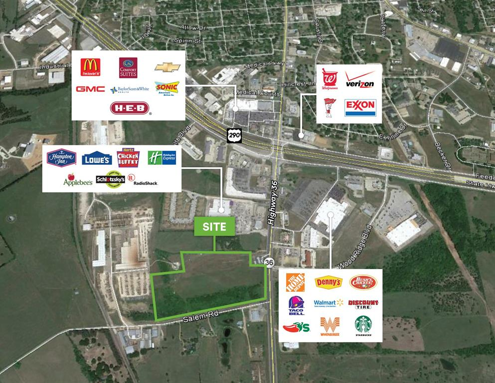 Excellent location in close proximity to Walmart.  One of the last large undeveloped pieces of land near the major intersection of Highway 290 & Highway 36.  Area retailers include: Home Depot, Lowe's Home Improvement, H-E-B, Casa Ole, Schlotzsky's, Chili's, Bush's Chicken, Applebee's, McDonald's, Jack-In-The-Box, & Starbucks