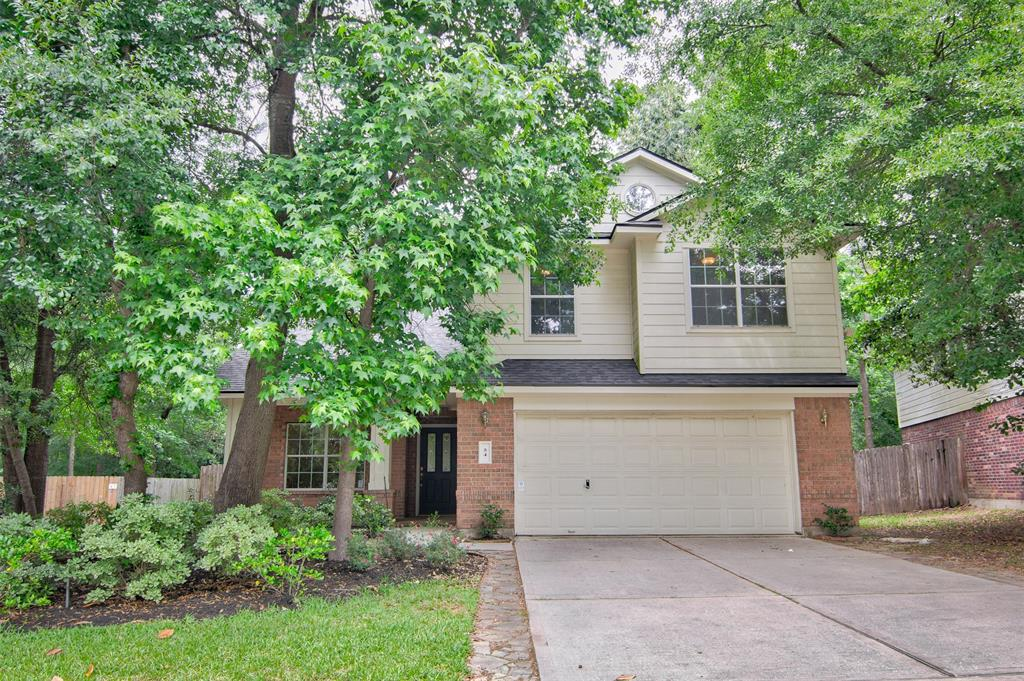 Beautiful Woodlands cul-de-sac home surrounded by lush trees and backs up to hike & bike trail (no back neighbors)! Quick access to I-45, Town Center, restaurants, shopping, parks, lakes, pools. Kitchen UPDATED with painted cabinets & modern knobs, granite countertops, travertine backsplash, stainless steel appliances. Powder bath with recent vanity & granite countertop, laminate wood flooring throughout downstairs, water heater, entire HVAC system replaced & ducts cleaned (since landlord bought home in late 2017). NEW roof (2017). Large backyard with patio, dog run, storage shed. Fridge, washer, dryer included. Garage with work bench. Alarm system. Sprinkler system in front yard. No flooding during Hurricane Harvey.