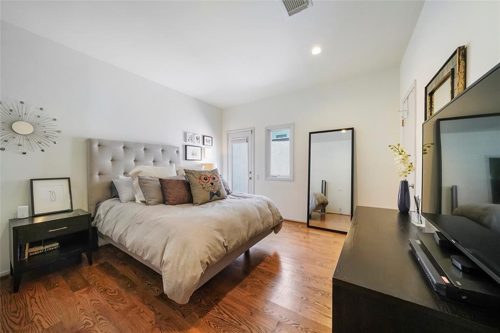 Sizeable master bedroom with gorgeous wide paneled oak hardwoods!