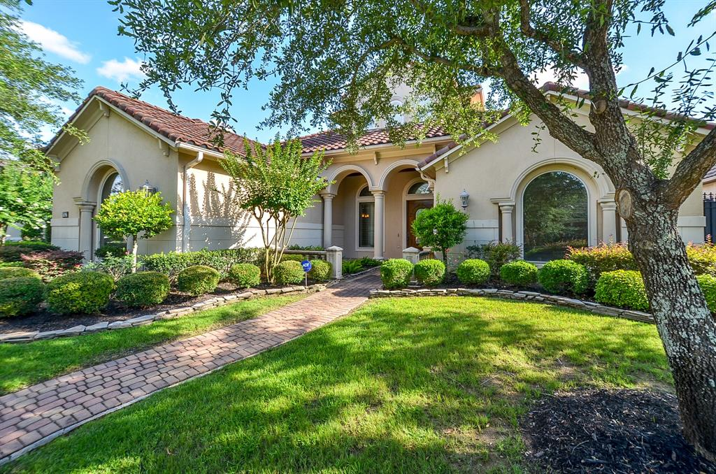 Gorgeous Mediterranean home with great architectural details, open floor plan backing to beautiful views of the golf course. Great home for entertaining with its 4/5 BR, 4.5 Bath and 3 Car spacious garage, Large Game Room, Media Room, Gourmet kitchen with Island & Granite Counters, with 2 BRs down, downstairs guest room has a walk-in shower, both formals, wet bar, covered patio, study with built ins, 2 fire places, planning center, cofferred ceiling, plantation shutters, beautiful travertine floors, Tile roof, covered patio and large yard big enough for a pool.  3 AC  units and water heater were replaced.  Easy access to Kinkaid school, Village school and Grace. HOME NEVER FLOODED.