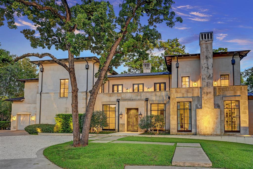 Light-filled, elegant custom-build by Corbel Custom Homes, Inc. completed in 2008*. This spectacular Italian-style villa w/ Contemporary Italian-style interior is situated at the end of a quiet cul-de-sac in Piney Point Village on a 38,000+ sq ft lot (per survey). Open, flowing floorplan integrates formal and informal rooms for easy daily living & entertaining. Appointments include reclaimed wide-plank floors; main & return staircases; antique fireplace; custom hobnail front doors; custom faux wall finishes; rich stone surfaces; and delicate custom wall coverings. Exquisite alcove dining room w/ rustic wood-plank walls; inviting study w/ floor-to-ceiling book/display cabinets; professionally-equipped gathering kitchen/breakfast; superb bar; secluded master suite w/ sitting area, spa-inspired master bath; spacious en suite secondary bedrooms; spectacular sheltered outdoor living and dining w/ infinity pool; and park-like wood-land views.  *per Seller