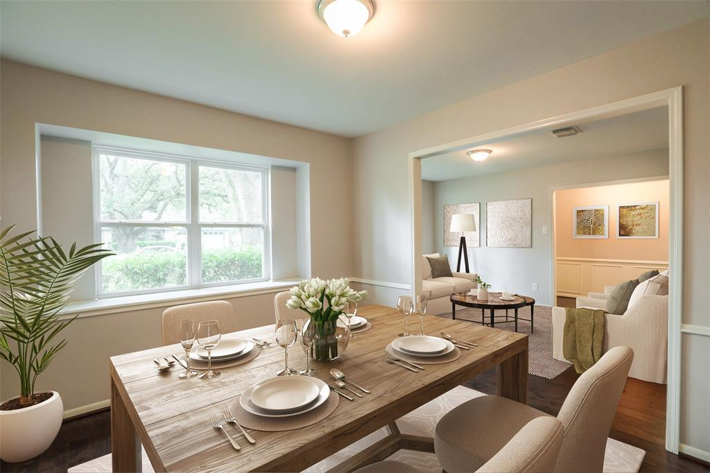 Formal dining room offers lots of functional options. This image has been virtually staged.