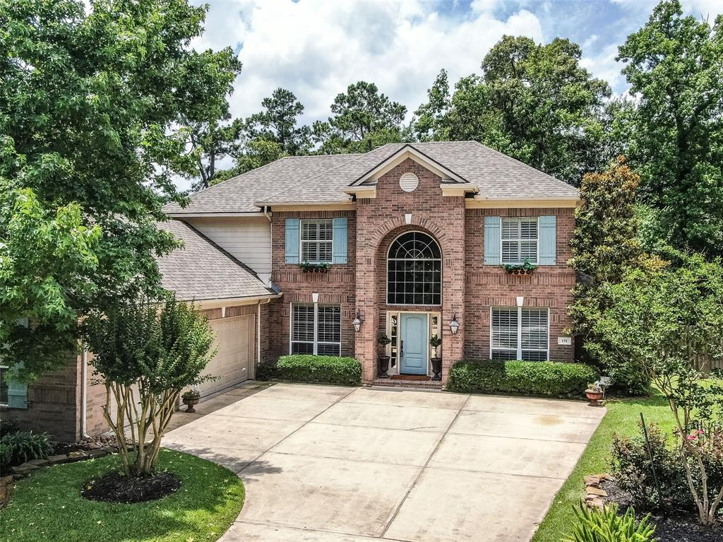 This gorgeous home sits on a small cul de sac in highly sought after Woodlands Village. The touches become evident as you walk through the door. The entry boasts brick floors and a high ceiling. To your right, you will find your study behind French doors and to the left your formal dining. The floorplan has two sitting areas downstairs each with their own designer fireplace. The kitchen is large and has lots of custom painted cabinetry. Off of the kitchen you will find a large laundry room/mud area with a sink and a full bath by the door to the garage. Downstairs also has a half bath, large master bedroom with an inviting bath. The closet in the master as well as the rest of the home are spacious. Upstairs you will find 4 bedrooms, 2 bathrooms and a gameroom.  All the rooms are ample size. In the backyard you have so much space!  You have a covered porch, a table under the trees, and a brand new cabana with TV.  Pebble tec plaster, pool cabana and roof are all new as of 2018.  Hurry!