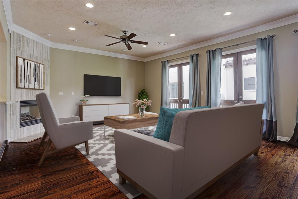 Virtual staging example for living area