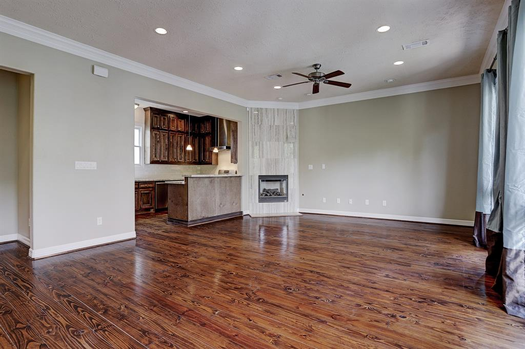 Alternate view of the main living space. Great neutral paint colors.  Half bath is to the left of the kitchen area