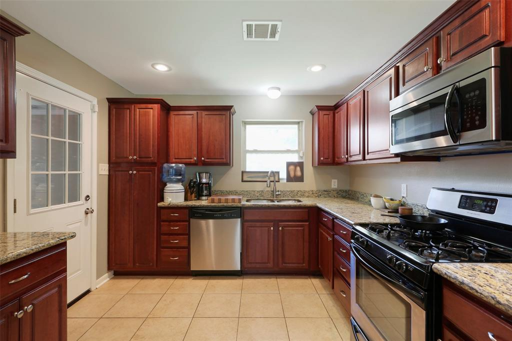 Built in microwave and gorgeous granite countertops...