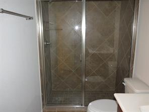 Master Bath features 5 ft. Walk In Shower with Glass Enclosure