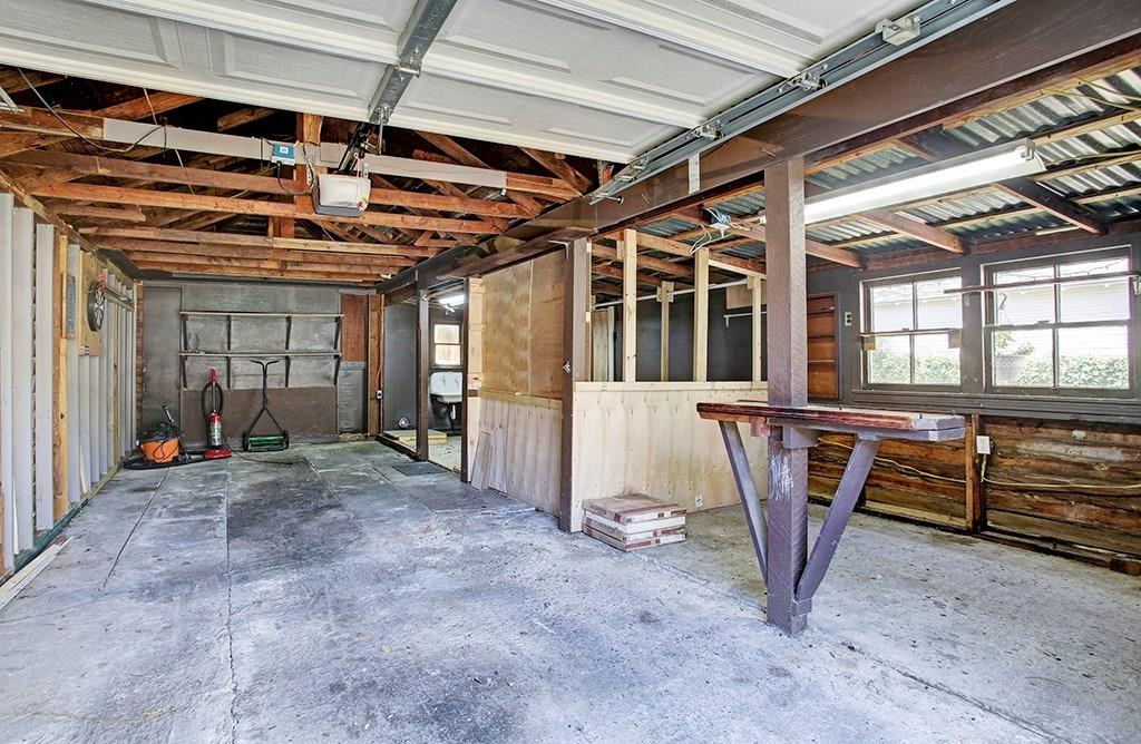 An interior picture of the garage, including different storage spaces.