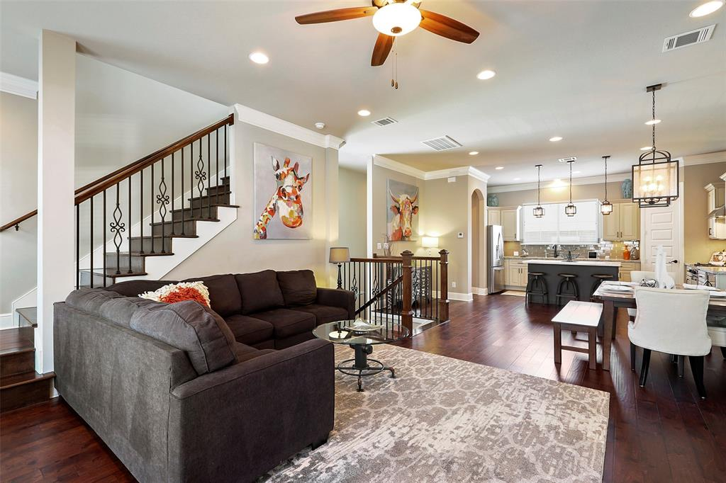 The open living room is the perfect space to watch the big game or relax with your family