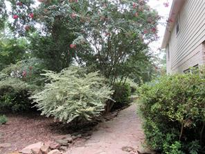 Flagstone path leading from the backyard to the front. Lot to the left is included in the price of the home.