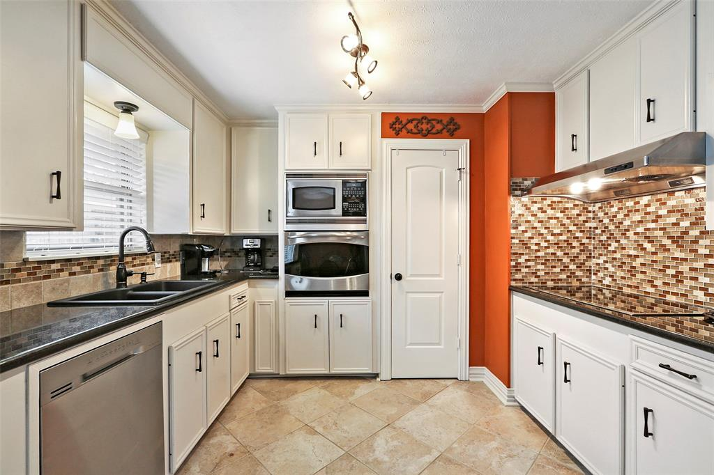 The kitchen has lots of storage.