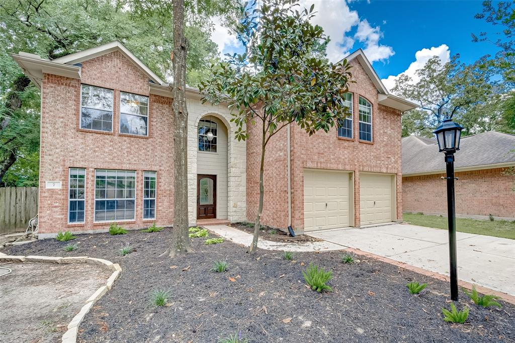 This is an AMAZING opportunity to own this beautiful 2 story home nestled in the private and serene Woodlands area! This home is zoned to the HIGHLY rated Conroe ISD, close to parks and trails, the Woodlands Mall and the new Woodlands hospital district.  This home boasts a large master suite, has a beautiful fireplace in family room and an open-concept kitchen-living room area. Upgrades include brand new carpet, brand new high efficiency central air, new light fixtures and fresh paint. Great location with lots of tall trees! Community offers dog park, skate park, tennis courts, basketball courts, community pool and walking trails. Easy access to Exxon Campus, surrounding hospitals and I-45. This home is situated at the end of a quiet, and beautifully wooded cul-de-sac.  This house stayed high & dry and never flooded.