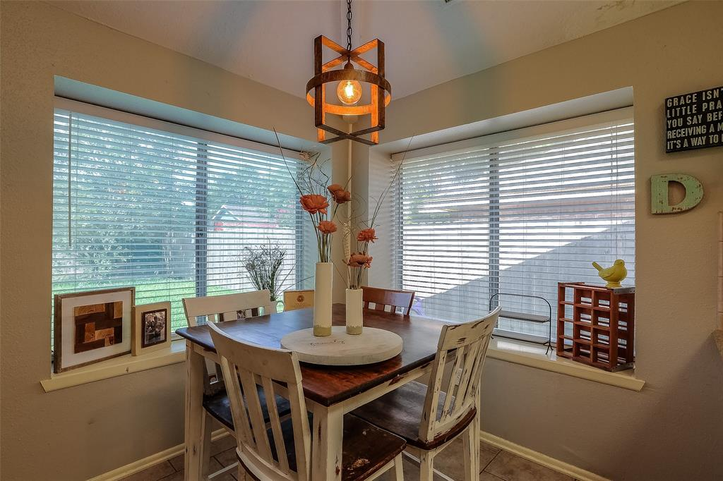 The dining space is open to the kitchen and living room.