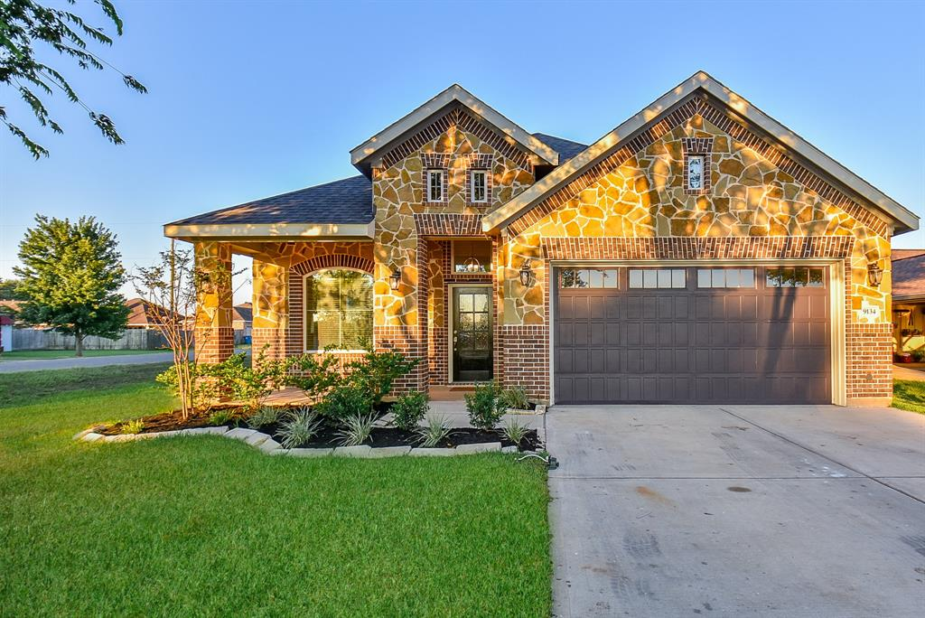Welcome to 9134 Kostelnik, constructed in 2018, a stunning 3 bedroom and 2/1 bath home nestled on a corner lot in the heart of Needville. Open floor plan that invites you into a cozy living room with gas log fireplace with brick mantle, dining room with high tray ceiling, and large kitchen with tons of storage, granite countertops, tile backsplash, and under-cabinet lighting featuring new stainless steel appliances. The home features an elegant master bedroom with gorgeous brick accent wall. Master bath includes double sinks, and large oversized shower with dual shower heads. Enjoy the recently-fenced backyard with a patio that is perfect for entertaining family and friends. DON'T WAIT schedule your showing for this GEM today!!!