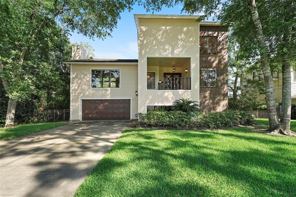 Elegant, stunning, light filled contemporary, nestled among magnificent trees with a bayou setting. All entertaining areas and master suite have large windows and glass doors to overlook this incredible 22,000 square foot lot. Chef's island kitchen featuring granite countertops, SS appliances, double oven, and gas cook top. Kitchen divides the formal dining and living areas from the family and breakfast room. Makes it ideal for large gatherings. Gas fireplace in den and formal living area. Third floor with spacious master retreat with extra sitting room, fireplace and private deck. Beautiful spa like bath. Multiple decks surround the back of the home overlooking a nature lovers dream. Large wrap around flagstone deck overlooking bulk-headed backyard. First floor is approximately 1200 square feet of unique multiple living areas with full bath and private exterior entrance. Tranquil park like setting tucked away just minutes from freeway to Houston or Galveston.