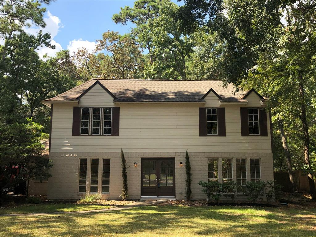 Stately Southern Charmer secluded away in the highly sought after Northampton Community!Fabulous colonial 2story/3bed/2.5bathshas been completely remodeled.Sits on secluded 3/4 acre wooded lot.Downstairs features a formal living/dining, family room, kitchen w/separatemud room/laundry & 1/2 bath.Upstairs 3 bd & 2 baths, fantastic master suit w/walk-in closet,claw foot tub, walk-in shower & dual sinks. Living room w/fireplace & French doors flows into dining/kitchen & family room for fantastic entertaining. Updated designer kitchen w/custom cabinets, farm sink, center island, granite counters, large walk-in pantry,butcher block chefs station & gas range. Backyard forest is very spacious & the ideal place for pets. Quietly relax on your 400sqft patio & BBQ while enjoying the abundant wildlife & stunning sunsets. 2 car garage with workshop.Great Location! Access to Golfing, Tennis, Swimming pool, Fitness Center, Hiking/biking Trails & Lakes, with fun water sports galore.Klein ISD