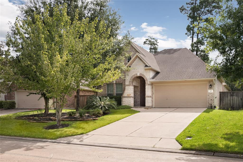 This beautiful single story home is ideally located in a quiet, cozy neighborhood in the Woodlands with major shopping centers minutes away and easy access to I-45. Interior features include an open floor plan, updated lighting fixtures, and granite countertops! The generously sized master bedroom has a built in bath, separate from the shower and a large walk-in closet. The study room has French doors and built in shelves, perfect for a home office! This home also has an extended brick paver patio and bench for entertaining guests outdoors! It is move in ready! This home is an absolute must see and won't last long!