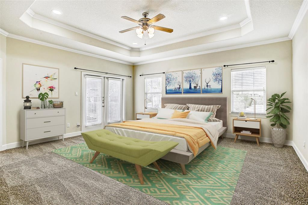 All bedrooms are upstairs in this home, and this is the very spacious master.  The double doors lead to a private deck.  This room has been virtually staged.