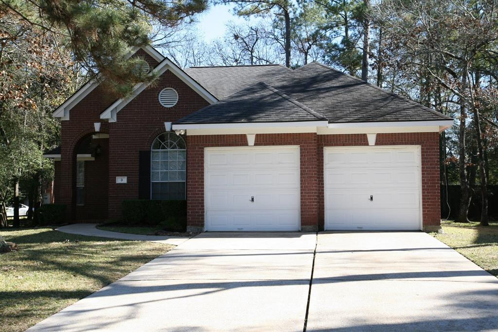 Great Location & Great Schools! Hard To Find 4-Bedroom, 1-Story Home In The Woodlands; Shows Very Well! Beautiful Updates Include: Modern Interior Paint Colors, Updated Hardware Thru-Out, Updated Light Fixtures/Ceilings Fans Thru-Out, Refinished Kitchen Cabinets w/Modern Hardware, Sleek Recessed Lights In The Kitchen, Granite/Sinks/Fixtures/Shower Glass Recently Replaced In The Master Bath, Toilets Recently Replaced Both Baths, Newer Canopy Over Deck, Freshened-Up Landscaping;  Conveniently Quick To FM1488 & I-45; Tons Of Retail Close By; Huge Corner Lot On Cul de Sac St; Quiet Neighborhood; Rare XL Backyard; Other Features Include: Granite Counters & SS Appliances In The Kitchen, High Ceilings That Compliment An Open Floor Plan, Gas Fireplace, Attractive Hard Surface Flooring Thru-Out Entire Home, Inviting Master Suite With A Large Master Bath & Dual Sinks, Separate Jetted Tub & Walk-In Shower, Patio & Covered Deck In Backyard; Stainless Refrigerator/Washer/Dryer/Lawn Maint. Included!