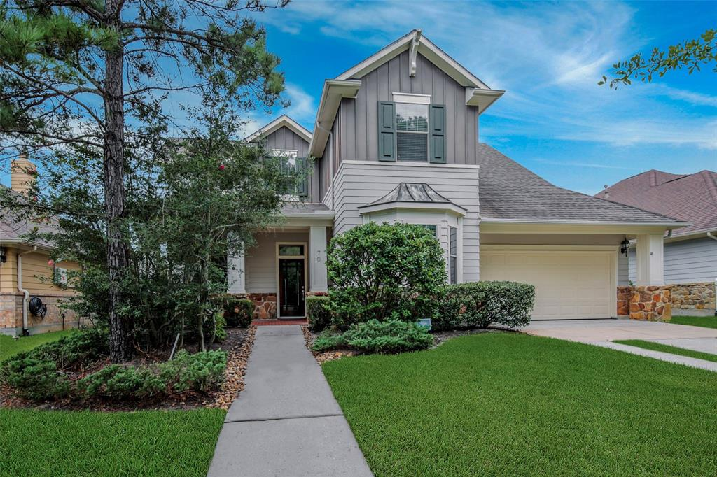 Minutes from I-45, Market Street, Hughes Landing, Town Center & hospitals, this Darling home is ideally situated to commute & enjoy all The Woodlands has to offer.  On a peaceful street, this home looks out onto the neighborhood park featuring gazebo & play structures.  Stone accents, tiled porch & glass front door welcome you.  Large formal dining w/hardwood floors, study & spacious kitchen w/ large island & breakfast bar.  Stainless steel appliances, refrigerator Incl., gas range, abundant cabinetry & walk-in pantry.  Over sized windows span the breakfast room, family room & flow into the master bed, all w/ blinds. Spacious living area w/ fireplace. Utility room w/ space for 2nd refrigerator, washer & dryer incl.  Semi-enclosed upstairs gameroom keeps noise levels low.  Bedroom 2 w/en-suite bath & 3rd bath up. Large backyard w/ patio provides room for a pool & play, boasts multiple fruit trees, incl. banana & pineapple guava. Enjoy hiking & biking trails to restaurants & shops.