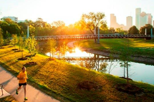 Enjoy the Hike and Bike trails at Buffalo Bayou Park.