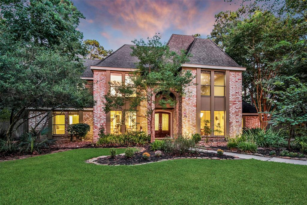"Just steps away from The Woodlands Resort sits this beautifully updated custom SMART home w Saltwater pool & spa. Artisan distressed Maple Hardwoods throughout. Great room: Majestic cathedral ceiling, floor to ceiling fireplace, a wall of windows overlooking the peaceful backyard. The chef's kitchen includes all VIKING PROFESSIONAL appliances: 36"" 6 burner range w convection oven, wall oven, microwave, dishwasher, refrigerator. Custom made on-site cabinetry, Brazilian Macaubus White Quartzite counters, glass tile backsplash, under cabinet lighting. Oversized master bedroom. Spa-like master bath includes: custom cabinets, Italian Bianco Carrara Marble Counters, oversized freestanding soaker tub, frameless shower w/2heads & body sprays, pivot mirrors, Restoration Hardware Sconces, custom contemporary wood paneling. Family room: custom shelving, wired for 7.1 surround, custom barn doors. See description in pics for more details! Gameroom & 3 beds up. Soundproof music studio!"