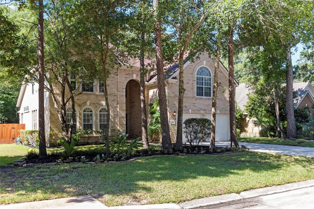 This gem of a home is located on a quiet cul de sac street, backing to permanent preserve in Alden Bridge!  It is move-in ready with Brand new carpet, an updated kitchen with white cabinets and new dishwasher, microwave and gas cooktop elements and an updated master bath! Pool and spa have just been replastered and are ready to be enjoyed by a new family! Open and flexible floorplan. Light and bright with tall ceilings and lots of double paned windows! Large living spaces in family room, both formals and gameroom. Neutral color palette and beautifully maintained. 4 bedrooms, 3.5 baths. Refrigerator, washer, dryer and storage cabinets in garage all stay with home. Great location in The Woodlands!  Zoned to the popular Bush Elementary.